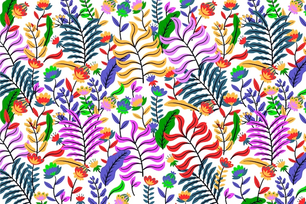 Colorful exotic floral background with neon