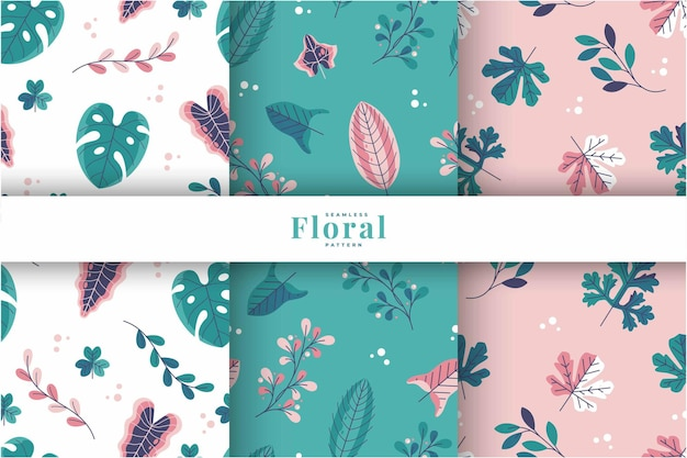 Colorful exotic floral pattern collection