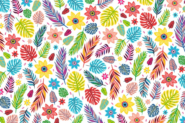 Colorful exotic floral print wallpaper design