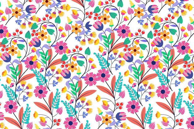 Colorful exotic floral wallpaper concept