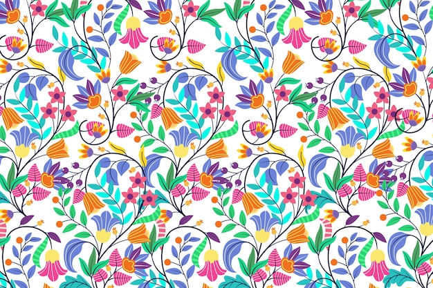 Colorful exotic floral wallpaper design