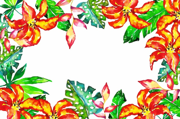 Colorful exotic floral wallpaper