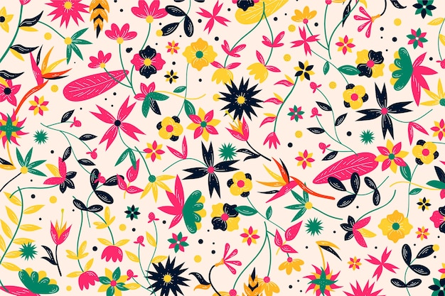 Colorful exotic flowers background