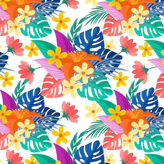 Colorful exotic flowers and leaves pattern