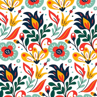 Colorful exotic leaves and flowers pattern