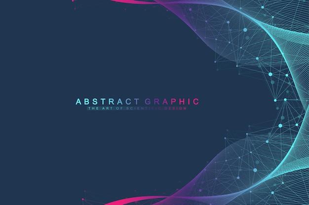 接続された線と点、波の流れで人生の背景のカラフルな拡張。視覚化は生命技術の神経叢拡張を線引きします。抽象的なグラフィックの背景、モーションバースト、ベクトルイラスト。
