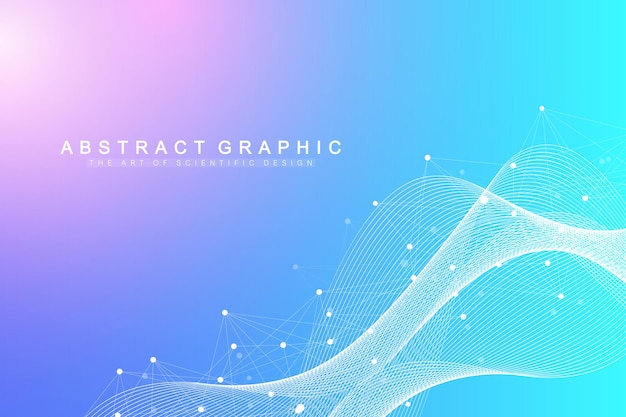 Colorful explosion background with connected line and dots, wave flow
