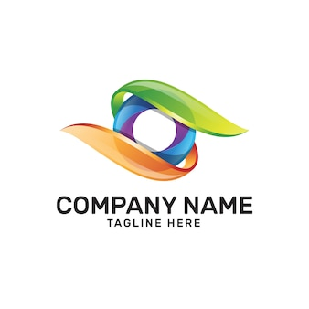 Colorful eye camera lens logo