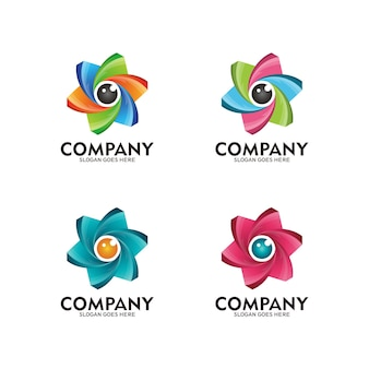 Colorful eye and flower logo. camera lens eye logo and flower icon-vector