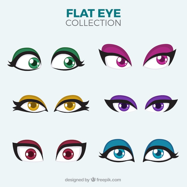 Colorful eyes of female character set
