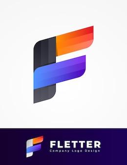 カラフルなf文字ロゴデザイン