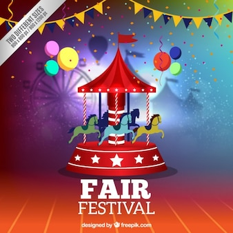 Colorful fair background with a carousel