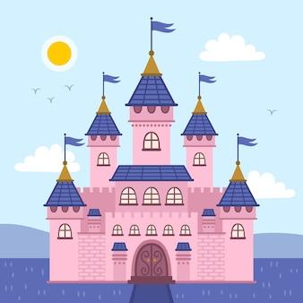 カラフルなおとぎ話の城のコンセプト