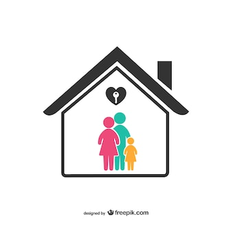 Colorful family with house icon