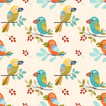 Colorful fancy bird design seamless pattern.