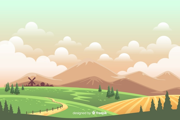 Colorful farm landscape cartoon style