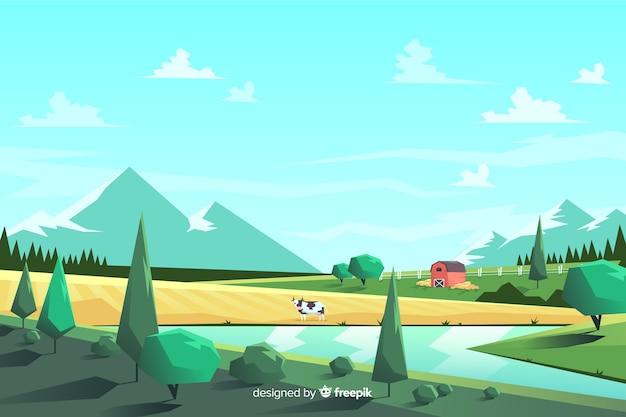 Colorful farm landscape cartoon style