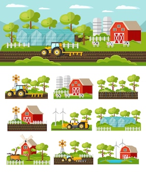 Colorful farming concept