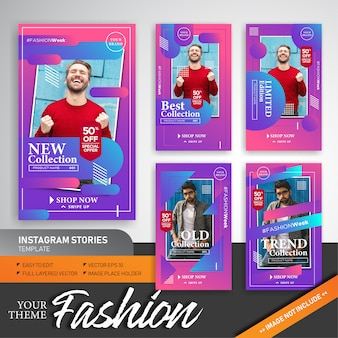Colorful fashion collection instagram stories template