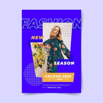Colorful fashion poster template