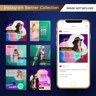 Colorful fashion social media post template