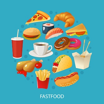 Colorful fast food concept