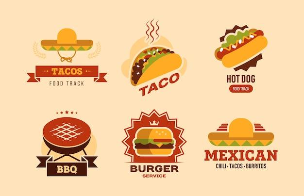 カラフルなファーストフードフラットロゴセット。タコス、ホットドッグ、ハンバーガー、ブリトー、バーベキューベクトルイラストコレクションのあるファーストフードカフェ。フードデリバリーと栄養のコンセプト
