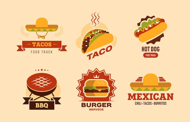 Colorful fast food flat logo set. fastfood cafe with taco, hot dog, burger, burritos and bbq vector illustration collection. food delivery and nutrition concept