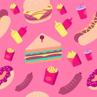 Colorful fast food pattern
