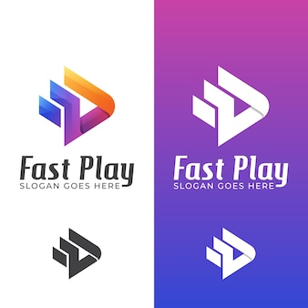 Colorful fast play media for studio music or video editor logo design with two versions