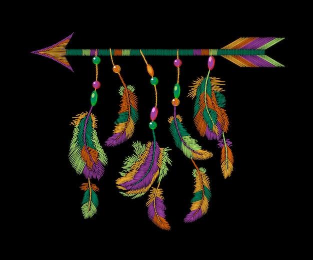 화려한 깃털 화살표 자 수, boho 부족 옷 아메리칸 인디언 템플릿