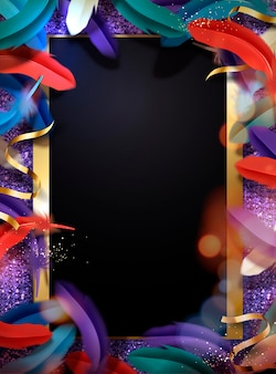 Colorful feathers glittering frame background with copy space in 3d style