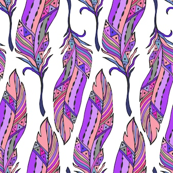 Colorful feathers seamless pattern in ethnic style. hand drawn zentangle doodle ornament pattern with vector feathers