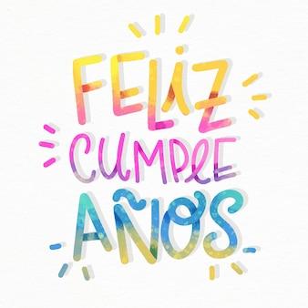 Colorful feliz cumpleaños lettering