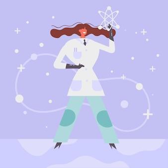 Colorful female scientist illustration