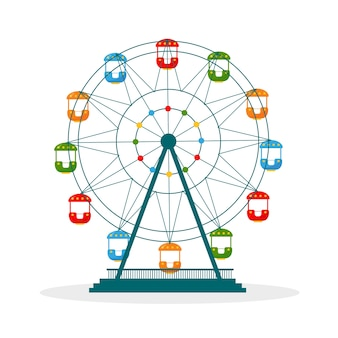 Colorful ferris wheel icon illustration isolated on white background