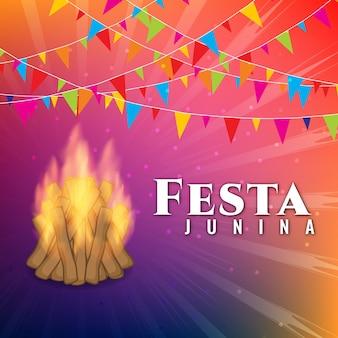 Colorful festa junina design with bonfire and garlands
