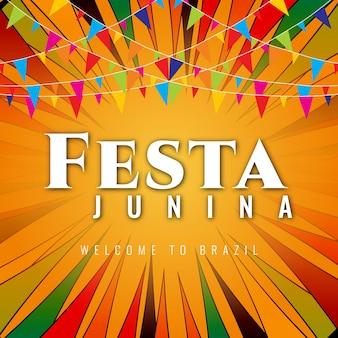 Colorful festa junina design with garlands