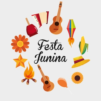 Colorful of festa junina with  over white background
