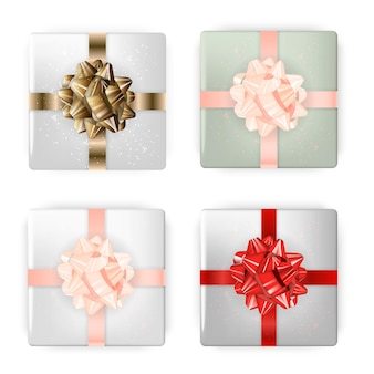 Colorful festive box with bow set