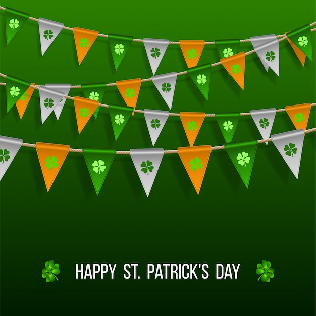 Colorful festive bunting with clover