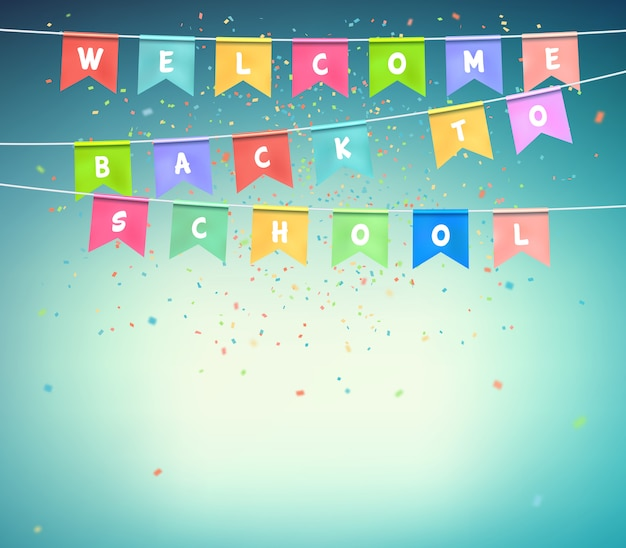 Colorful festive flags with confetti on blue background