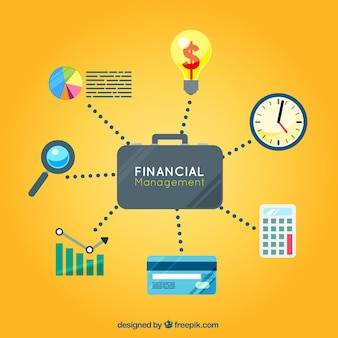 Colorful finance concept with classic elements