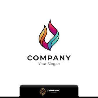 Colorful fire logo isolated on white