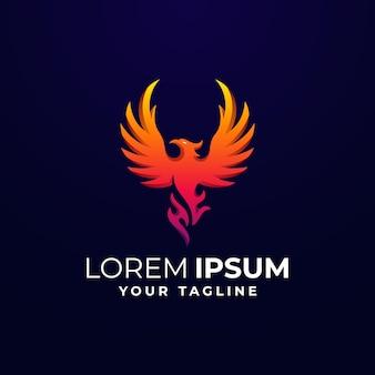 Цветной шаблон логотипа fire phoenix