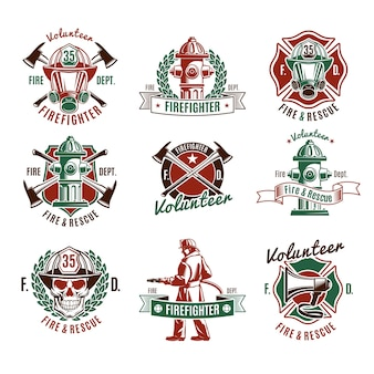 Colorful fire protection labels set with firefighter skull rescue tools