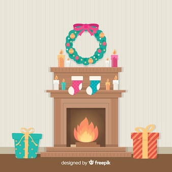Colorful fireplace christmas background