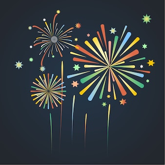Colorful firework background on blue dark background