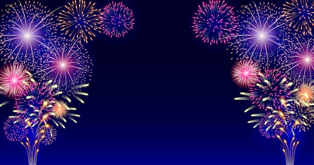 Colorful firework on dark blue background