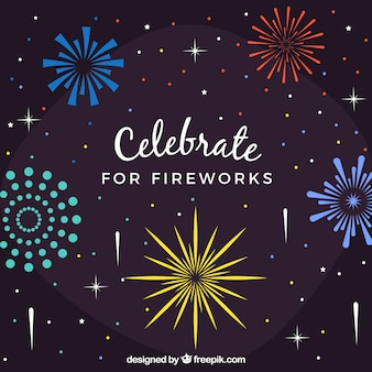 Colorful fireworks background in flat design